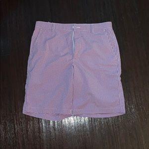 Purple gingham FootJoy golf shorts